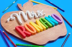 """A wonderful way to show your heartfelt appreciation at the end of the school year or for the holidays. Let your child's teacher know """"She is awesome to the core!"""" Personalized Wooden Signs, Personalized Teacher Gifts, Teacher Name Signs, Wood Letters, Handmade Wooden, Wood Signs, Appreciation, Core, Apple"""