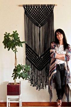 Black macrame wall hanging, large macrame BLACK DESERT, macrame tapestry…