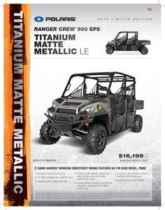 2014 Polaris Ranger Crew 900 EPS in Titanium Matte Metallic. #WoodsCycleCountry