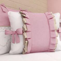 Almofadas Alice Rosa 3 Peças Brown Pillows, Cute Pillows, Baby Pillows, Sofa Pillows, Ruffle Pillow, Flower Pillow, Sequin Pillow, Sofa Covers, Pillow Covers