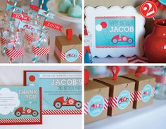 Race Car Birthday Party Decorations & Invitation - PRINTABLE