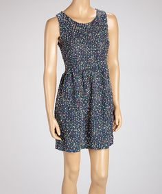 Take a look at this Blue Confetti Sleeveless Skater Dress by Fashion by Wholesale on #zulily today! $20 !!