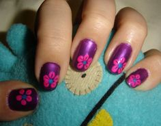 pink flowers, color combos, polish nails, flower nails, spring nails, nail art designs, nail designs, nail arts, nail idea