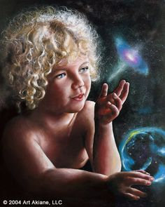 """Journey - by Akiane Kramarik, Age 9  """"As I was diving underwater one day, I met the most beautiful child.He will be in space, I thought. I will paint him and through him I will share my own story and vision... I later found out that I'd called the painting Journey for a reason, because the painting was lost and after a long time miraculously was found on the other side of the world."""" Akiane"""
