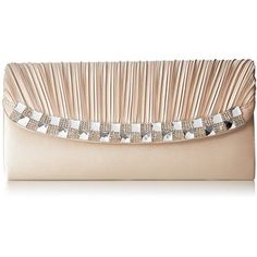 Jessica McClintock Marleen Satin Flap Clutch with Stone Detailing