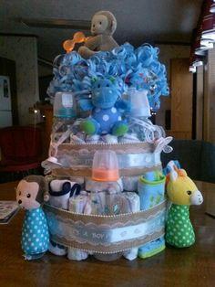 Baby boy zoo animal diaper cake