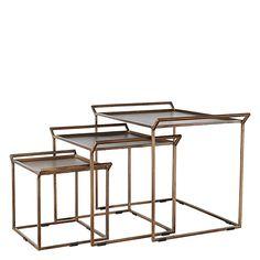 SAtsbord i metall  - set om 3 .  Tre sidobord för smarta rum  Elegant soffbord x 3. Rum, Living Spaces, Table, Furniture, Elegant, Home Decor, Vintage Style, Metal, Classy
