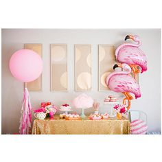 Pretty in pink with flamingo balloons and a giant pink matching balloon. Great for adding glam to any party. Use at the dessert table, photo props or party entrance! Your guest will love them!! #flamingo #pinkballoons #birthdayballoons