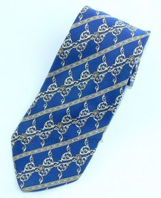 "Versace Tie Blue Ivory Baroque Scroll Stripes Medusa Head  Made in Italy 60""…"