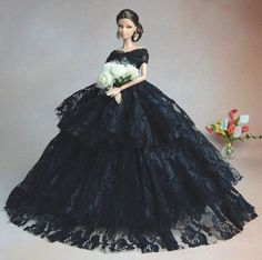 Negro-Fashion-Royalty-Princesa-Fiesta-dress-clothes-gown-Para-Barbie-Muneca-S134