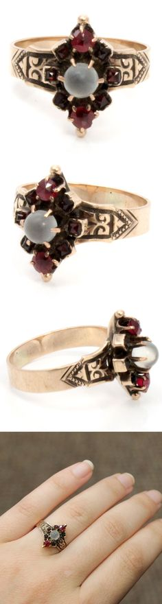 Antique Rose Gold Victorian Moonstone and Garnet Ring from Ageless Heirlooms
