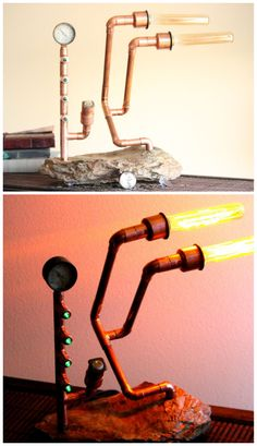 Steampunk Copper Lamp with Rock Base - this looks so cool!
