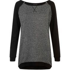 Black Contrast Sleeve Raglan Zip Tunic Top (€25) ❤ liked on Polyvore featuring tops, tunics, zipper top, black tunic, sports tops, zip tunic and zip top
