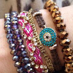 """Friendship + vintage + spiritual = Happy Arm Party"" Purple Bead http://rstyle.me/hurvipbu6e Friendship http://rstyle.me/h5xtgbu6e Bronze  http://rstyle.me/huah46bu6e"
