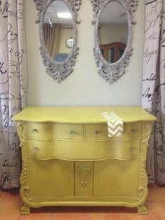 Pretty mirrors and yellow dresser French Mirror, Mirror Mirror, Mirrors, Yellow Dresser, Hope Chest, Storage Chest, Shabby Chic, Bedroom Decor, House Design