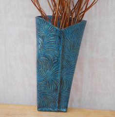 Wall vase pocket handmade in stoneware pottery ceramic