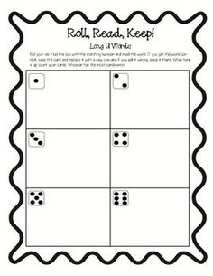 All 5 long vowel Roll, Read, Keep! A, E, I, O, and U!Great for literacy centers!...