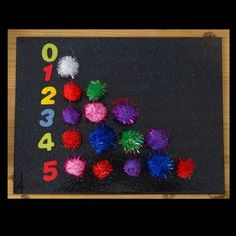 "Counting 'fireworks' (sparkly pom-poms) from Rachel ("",)"