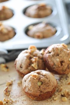 These easy and delicious Healthy Banana Walnut Muffins are made with bananas, yogurt, and applesauce. Filled with tasty substitutions!