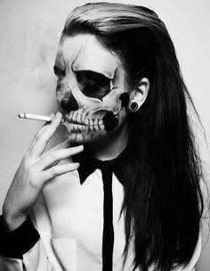 Artist Unknown. Skull #skeleton #makeup #halloween