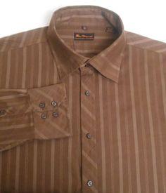 BEN SHERMAN Men's 100% Cotton Size XXL Brown Striped Long Sleeve Shirt