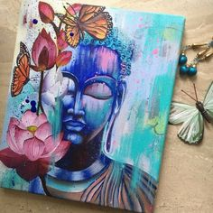 """Our June event themed """"What We Do Best"""" has started and runs through Thursday, EST. This is a piece from is one of the… Indian Art Paintings, Modern Art Paintings, Acrylic Painting Canvas, Canvas Art, Budha Painting, Buddha Artwork, Buddha Canvas, Wow Art, Mandala Art"""