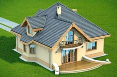 Haus House Roof Design, Village House Design, Home Building Design, Facade House, Building A House, House Plans Mansion, Bungalow House Plans, Bungalow House Design, Dream House Plans