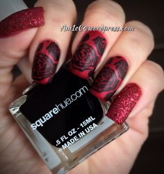 Dark Valentine nails <3