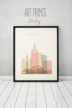 Newcastle print Poster Wall art England UK by ArtPrintsVicky