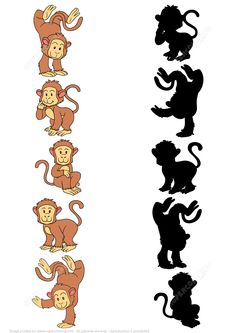 Find the Correct Shadow of Monkeys Puzzle Puzzle games Jungle Theme Activities, Preschool Jungle, Free Preschool, Preschool Activities, Free Printable Puzzles, Free Printables, Word Puzzle Games, Bible Games, Logic Games