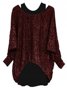 bd21bd3ae15 Plus Size Batwing Sleeve Two Piece Pullover Sweater - RED WINE - 4X