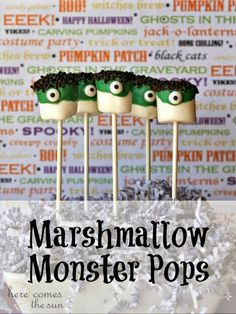 Marshmallow  Monster Pops.   Or, maybe I'll make ghosts with white chocolate