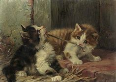 1913 Two Cats Playing by Julius Adam