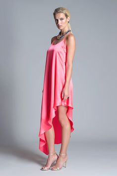 Bethany Dress from Julian Chang.  Simple and chic silk dress featuring scoop neckline and asymmetrical hem. Racer back.