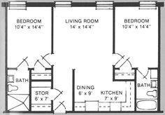500 sf 2 bedroom
