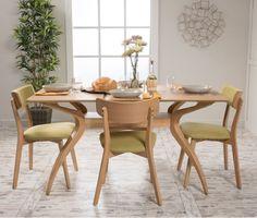 5 Piece Dining Set Wood Table 4 Chair Kitchen Retro Mid Century Modern Furniture #CKHome #ContemporaryMidCenturyModernRetro
