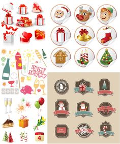 5 Sets of beautiful vector cartoon Christmas badges in retro style, some Christmas icons with illustrations of gift boxes, champagne glasses, balloons, cake, hats, serpentine + some Christmas label templates with Christmas trees, candles, cookies, stockings, gifts, Santa Claus, reindeers,…