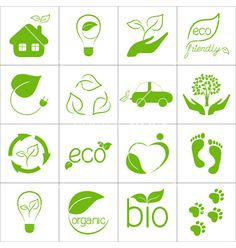Set of eco friendly green icons - Josefina Quevedo Bata - Set of eco friendly green icons Vector Art : Eco friendly icons - Plant Logos, Eco Friendly Cars, Eco Friendly Cleaning Products, Green Environment, Vector Art, Leaf Garland, Sustainability, Smart Kitchen, Ideas