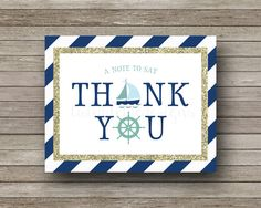 ♥ Instant Download ♥  These adorable nautical-themed thank you cards can be yours today! They coordinate wonderfully with a Nautical/Sea-themed baby shower, bridal shower, birthday party, etc.  Once you purchase this listing, an 8.5 X 11 PDF will be available for instant download as soon as your payment clears! The PDF file is set up to print 2 cards per page; you can print these from home or send to a local printer/copy center. This is a great alternative to costly custom printing!   ♥…