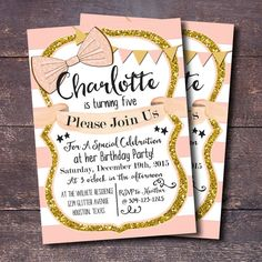 Pin and Gold Party Invitation, Girls Birthday Invitation, Pink and Gold Party, Printable Pink and Gold Invitation, BloomberryDesigns