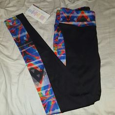 Lularoe Jordan full length workout leggings Black w/ multicolored sides & waistband. Super cute and comfortable, I wish they fit! They're just too small for me. Brand new, with tags. Can do cheaper on PayPal. Lularoe Pants Leggings