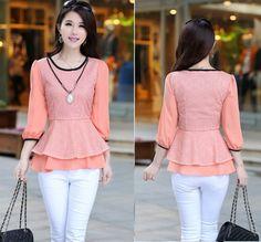 TC000268 Lotus leaf edges hem bottoming shirt Korean style tops