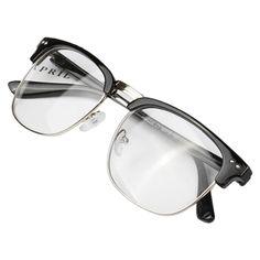 Daxin Unisex Hipster Vintage Retro Classic Half Frame Glasses Clear Lens Nerd Eyewear (Brilliant Black)