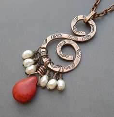 Stamped Copper Necklace with  Red Howlite and Freshwater Pearls