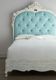 """Classic with a twist—a highly-carved and light blue diamond-tufted headboard adorns this impressive Florence de Dampierre """"Bouvier"""" Bed. From the Florence de Dampierre Collection for … Home Bedroom, Dream Bedroom, Bedroom Decor, Bedroom Ideas, Design Bedroom, Girls Bedroom, Wall Decor, Turquoise Headboard, Blue Headboard"""