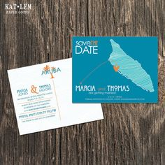 A unique and fun save the date for a destination wedding in Aruba. Completely customizable. Your choice of colors, fonts, and printing options