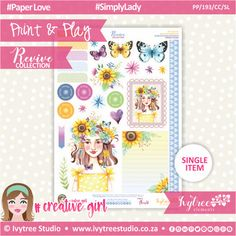 PP/193/CC/SL - Print&Play - CUTE CUTS - Simply Lady - Revive Collection Cute Cuts, Printable Paper, The Creator, Paper Crafts, Symbols, Joy, Collections, Creative, Artwork