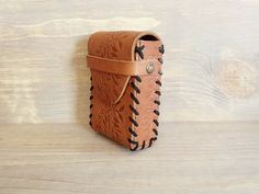 Handmade Leather Cigarette Case Playing Cards Case Brown