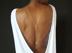 rose gold  Backdrop Necklace Pearl Back by HedgehogProject on Etsy
