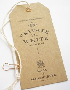 Private VC White hangtag
